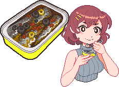 A pixel art character, Sardine-chan, eating a can of sardines